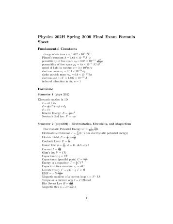 Physics 202H Spring 2009 Final Exam Formula Sheet