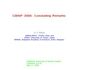 Concluding Remarks - USC Department of Physics & Astronomy ...