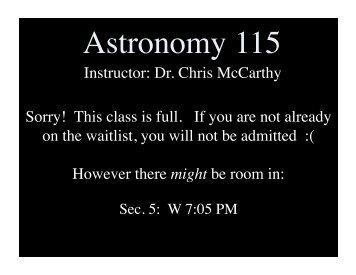Astronomy 115 - SFSU Physics & Astronomy