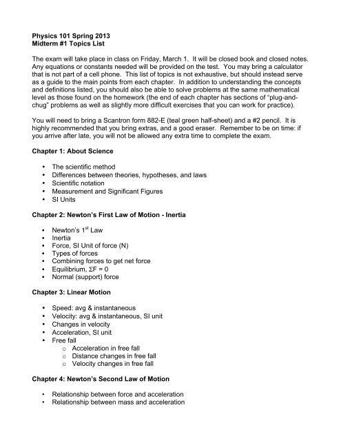 Topics for Midterm #1 - SFSU Physics & Astronomy