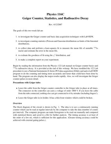 Physics 116C Geiger Counter, Statistics, and Radioactive Decay