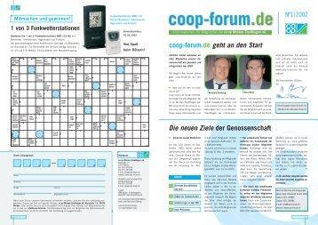 Die neuen Ziele der Genossenschaft coop-forum.de geht an den Start ...