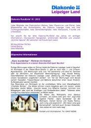 Rundbrief 2012, 3. Quartal. Quartal - Diakonie Leipziger Land