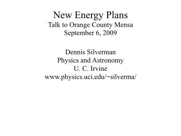 New Energy Plans - Physics and Astronomy
