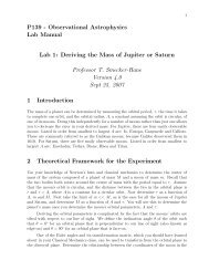 Observational Astrophysics Lab Manual Lab 1 - Physics and ...