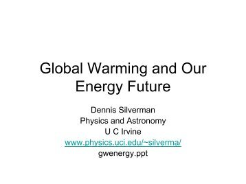 Global Warming and Nuclear Power - Physics and Astronomy