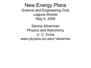 New Energy Plans (May 4, 2009) (pdf) - Physics and Astronomy