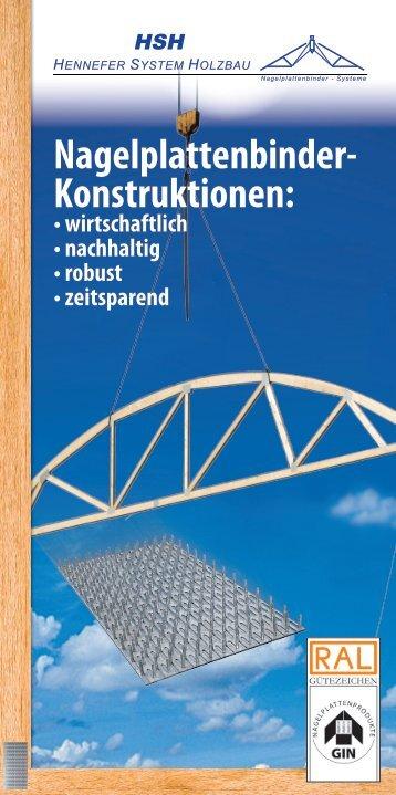 Nagelplattenbinder- Konstruktionen: