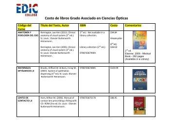 Costo de libros Grado Asociado en Ciencias Ópticas - EDIC College
