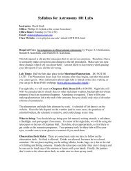 Syllabus for Astronomy 101 Nightlabs - Department of Physics and ...