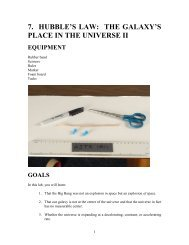 7. HUBBLE'S LAW: THE GALAXY'S PLACE IN THE UNIVERSE II