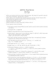 AST713: Final Review - UNLV Physics