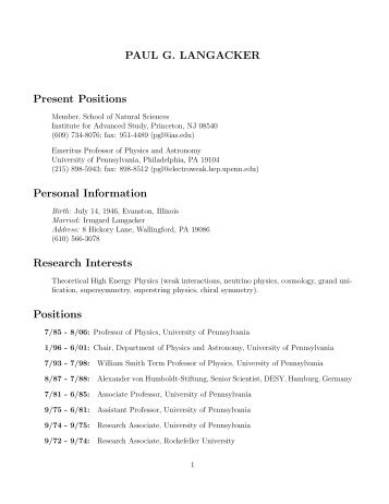 complete CV PDF - Department of Physics and Astronomy ...