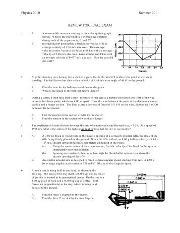Physics 2010 Summer 2011 REVIEW FOR FINAL EXAM