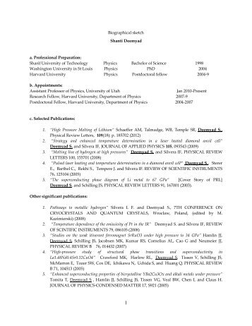 Deemyad CV - Department of Physics & Astronomy at the University ...
