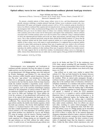Optical solitary waves in two- and three-dimensional nonlinear ...