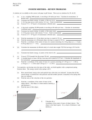 FOURTH MIDTERM -- REVIEW PROBLEMS