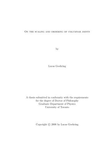 On the scaling and ordering of columnar joints by Lucas Goehring A ...