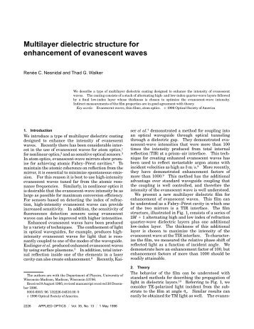 Multilayer dielectric structure for enhancement of evanescent waves
