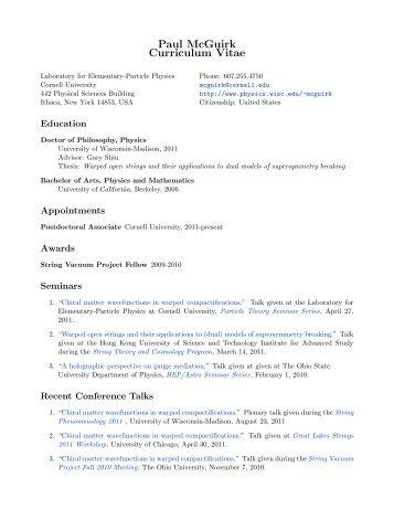 Paul McGuirk Curriculum Vitae - Physics Department - University of ...