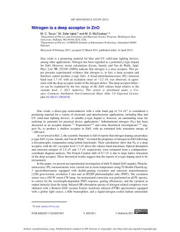 Nitrogen is a deep acceptor in ZnO - Department of Physics and ...