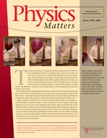 111078 physics matters.indd - Department of Physics and ...