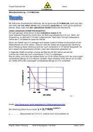 Altersbestimmung – C14 Methode Mit Hilfe einer ... - PhysicsNet