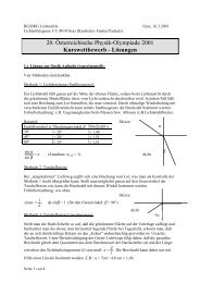 Kurswettbewerb - Lösungen - PhysicsNet