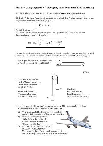 Physik * Jahrgangsstufe 9 * Bewegung unter konstanter ...