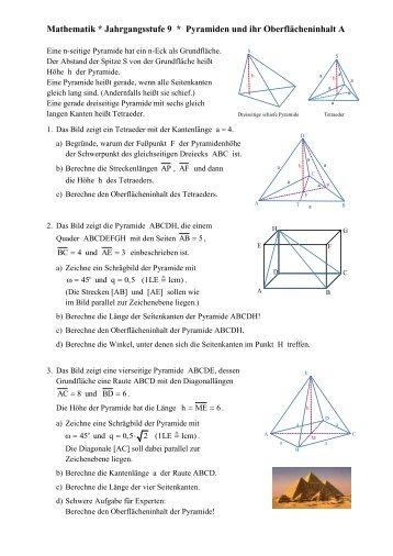 Pyramiden Aufgaben 2 - prozessbezogene kompetenzen eine ...