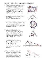Aufgaben zum Sinus- und Kosinussatz - Physik und Mathematik