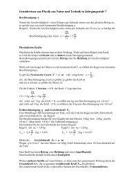 Grundwissen zur Physik aus Natur und Technik in Jahrgangsstufe 7