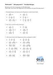 Mathematik * Jahrgangsstufe 8 * Bruchgleichungen