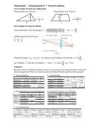 Mathematik * Jahrgangsstufe 8 * Formeln auflösen