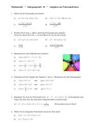 Mathematik * Jahrgangsstufe 10 * Aufgaben zur Polynomdivision