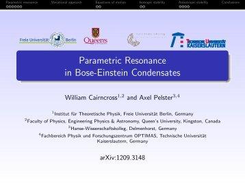 Parametric Resonance in Bose-Einstein Condensates - Freie ...