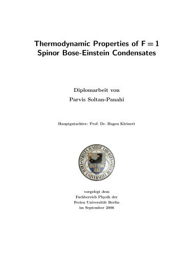 Thermodynamic Properties of F = 1 Spinor Bose-Einstein ...