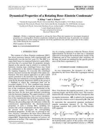 Dynamical properties of a rotating Bose-Einstein condensate