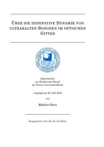 Ultrakalte Bosonen in einem offenen optischen Gitter - Fachbereich ...