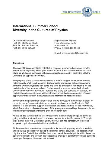 International Summer Schools – Diversity in the Cultures of Physics
