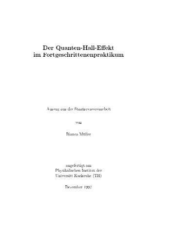 Der Quanten-Hall-Effekt im Fortgeschrittenenpraktikum