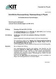 Klausur Ankündigung - Fakultät für Physik - KIT