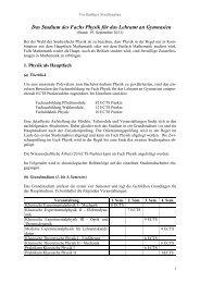 Das Studium des Fachs Physik für das Lehramt an Gymnasien