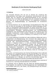 Studienplan zur PO2008 Bachelor Physik - Fakultät für Physik - KIT