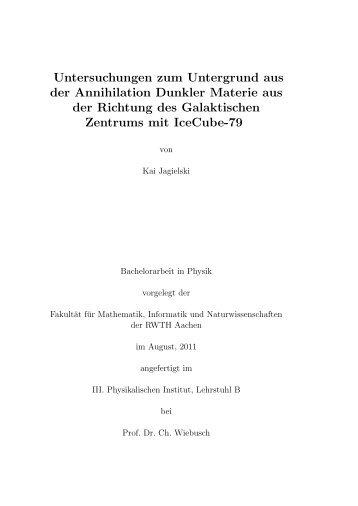Untersuchungen zum Untergrund aus der Annihilation Dunkler ...