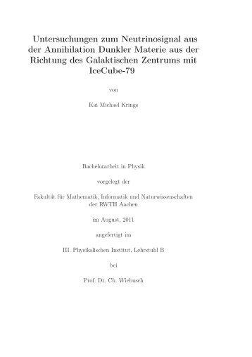 Untersuchungen zum Neutrinosignal aus der Annihilation Dunkler ...