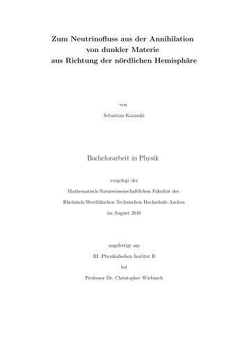 Zum Neutrinofluss aus der Annihilation von dunkler Materie aus ...