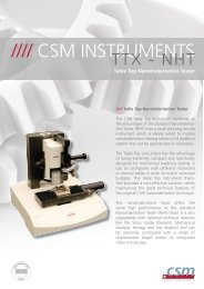 Table Top Nanoindentation Tester - CSM Instruments