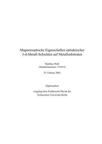 Magnetooptische Eigenschaften epitaktischer 3-d-Metall-Schichten auf