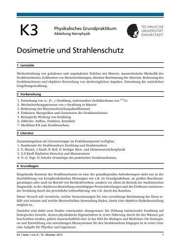 Dosimetrie und Strahlenschutz